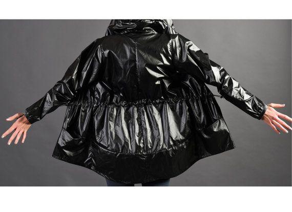 Raincoat women Black shiny windbreaker black nylon by Welovefuss