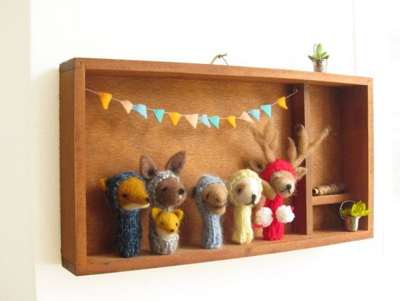 Personalized PUPPET BOX, a Set of 5 Finger Puppets of Your Choice in a Vintage Shadow Box, Nursery Art , Decorative Toy