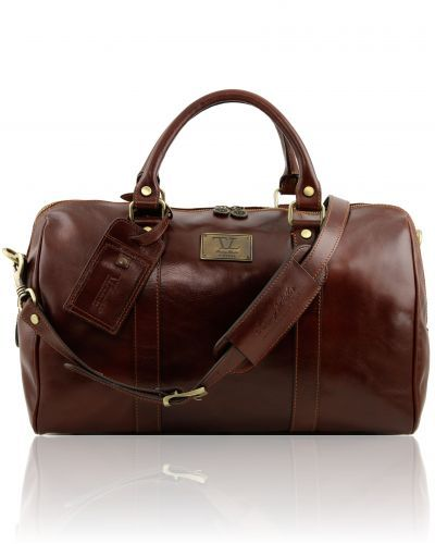 TL Voyager - Travel leather duffle bag with pocket on the back side - Small size Brown