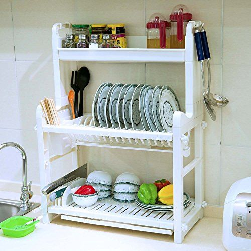 BYN PP Plastic Large 3 Tier Dish Drainer Rack With Drip Tray, 23 Inch,
