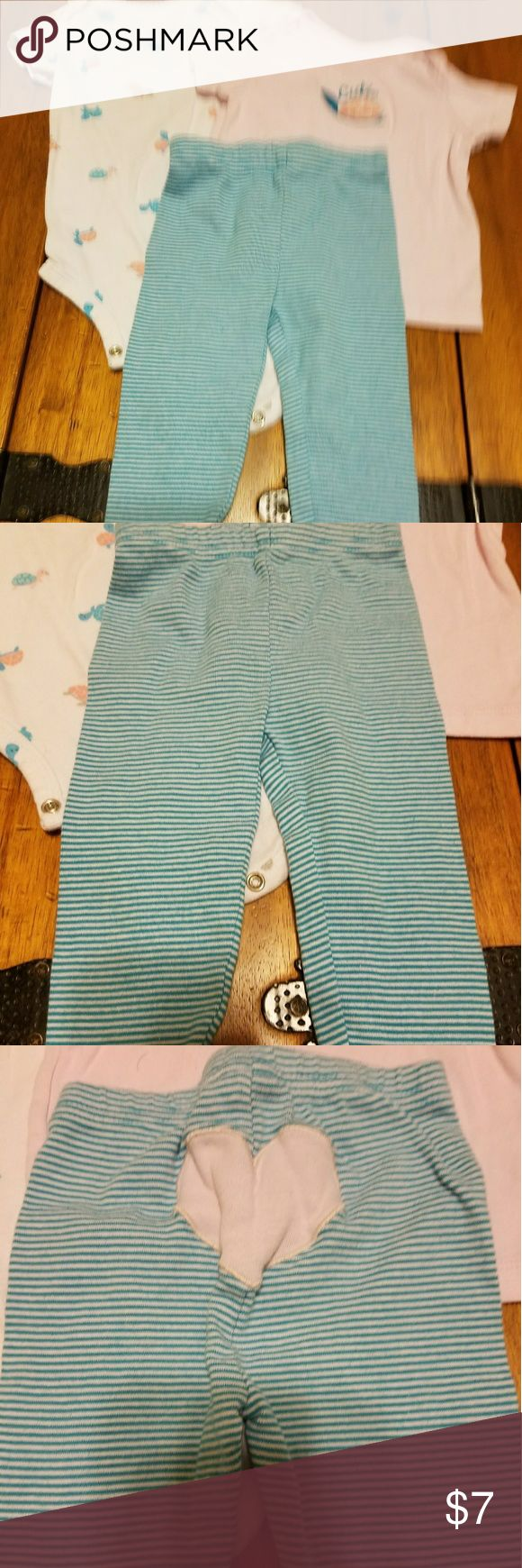 3-Piece Outfit Set 6-9m, Pink Blue White, Carter's Three matching pieces by Child of Mine By Carter's.  6-9 months Great condition! Pink short sleeve top, white short sleeve onsie with turtles throughout, and blue white striped pants. Carter's Matching Sets