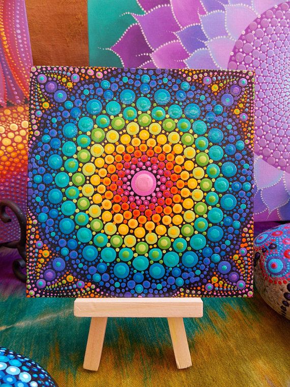 Mini Dot Mandala Painting 5in x 5in Canvas Board Mini Wood