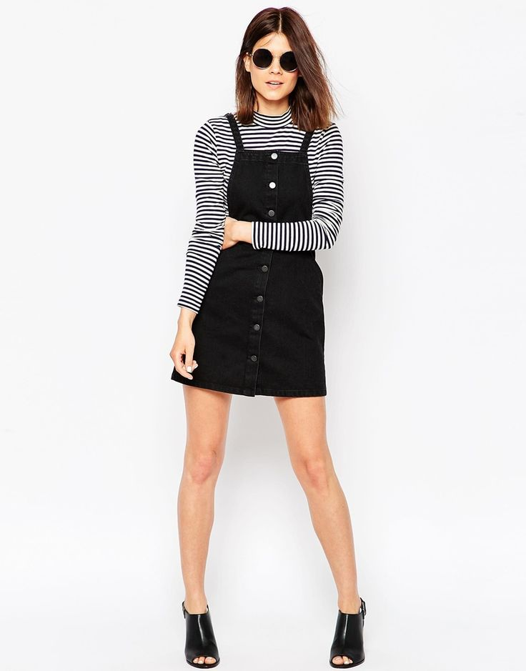 Denim Aline Button Through Pinafore Dress In Washed Black ...