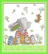 Wholesale Needlework,Stitch,14CT Cross Stitch,Sets For Embroidery Kits,The Patch Rabbit (2) Patterns Cross-Stitching(China (Mainland))