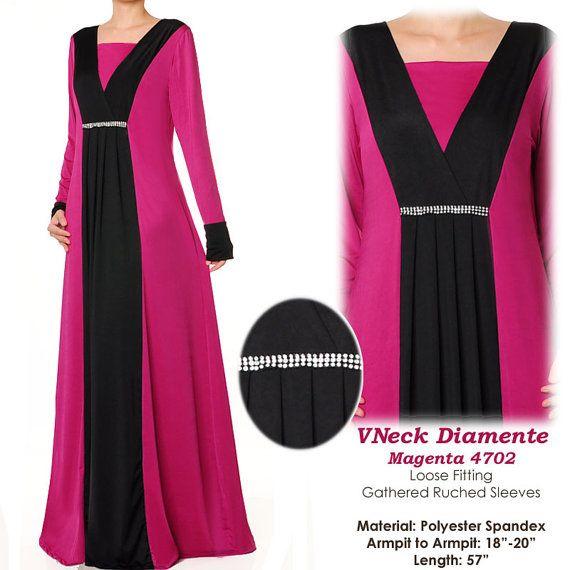 2 Tone Vneck Diamente Jersey Kaftan Abaya Long by MissMode21, $34.00