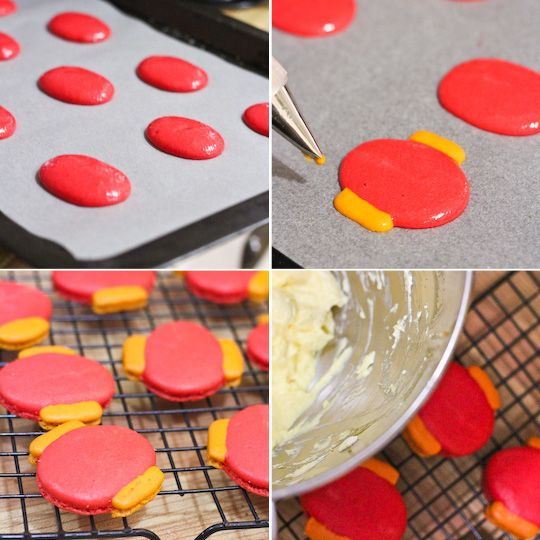 Chinese Lantern Macarons with Jackfruit Buttercream - could adapt and make xmas ornaments :)