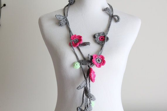 Crocheted Hot Pink Gray Mint GreenLariat, Necklace, Scarf, Scarflette