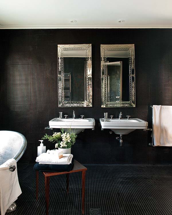 Black mosaic tile covers walls and floor; double-floating sinks: Black Bathroom, Interiors Design, Black White, Dark Bathroom, Black Tile, White Bathroom, Tile Bathroom, Mosaics Tile, Black Wall
