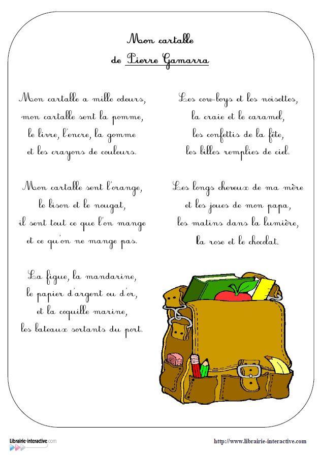 27 poésies parmi les plus connues pour les élèves de cycle 3 dans un recueil à imprimer.