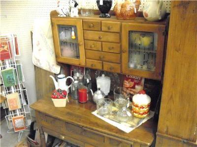 Old Antique Pine Kitchen Bakers Cabinet Flour Bin Spice