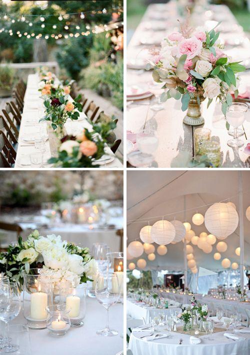 Décoration centre de table mariage couleur simple