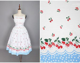 """Grace Dress """"Country Fruit Festival"""" Strawberry and Cherry Border Print"""
