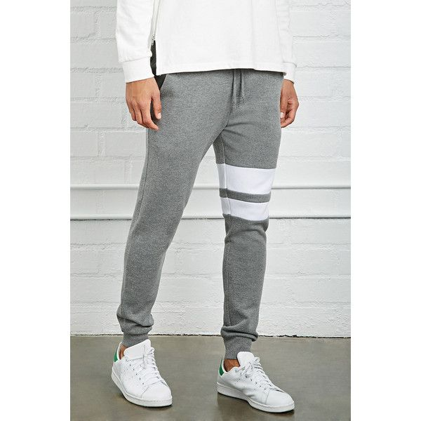 Forever 21 Men's  Varsity-Stripe Sweatpants ($20) ❤ liked on Polyvore featuring men's fashion, men's clothing, men's activewear, men's activewear pants, mens activewear pants, mens sweat pants, mens sweatpants and mens activewear