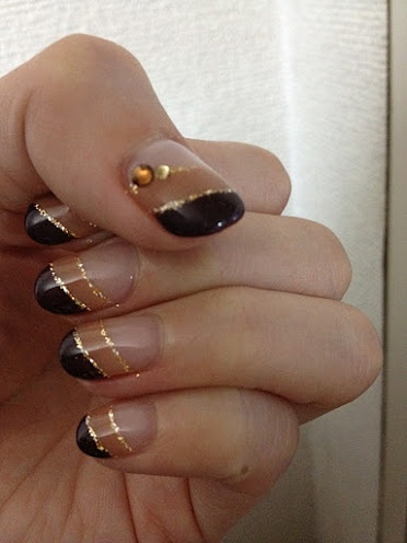 double brown french nails with gold line nail art i