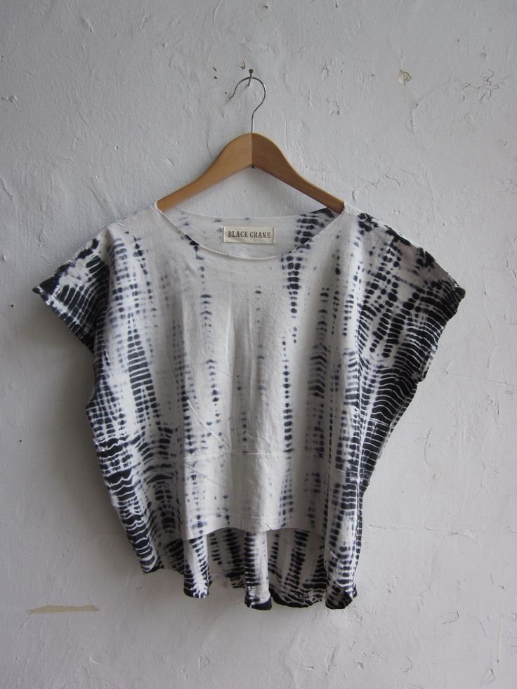 shibori black crane clothing