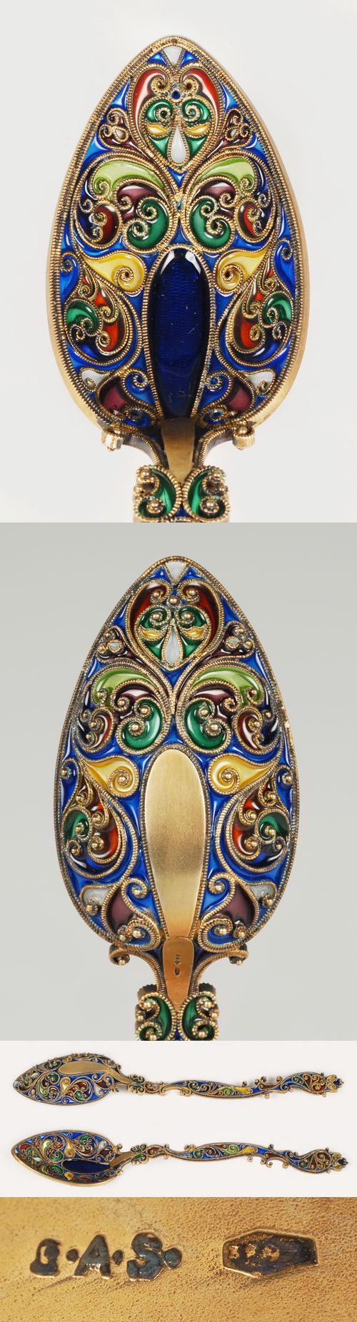 HUGE G.A.S. Plique Spoon. Exceptionally rare, 1906, Austrian | JV