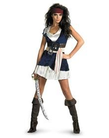 Pirates of the Caribbean Jack Sparrow Adult Womens Plus Size Costume with sugar skull face paint