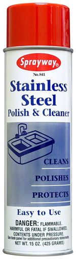 Sprayway Stainless Steel Polish & Cleaner •Specially formulated for use on stainless steel fixtures, equipment, or trim. •Cleans, polishes, protects stainless steel without scouring. •Resists fingerprints, grease, and water spatter; preserves factory finish. •Removes old or heavy accumulation of greasy film, food spatter, or oil stains. •Not for use on cooking utensils.