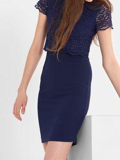 Costes - Blauwe jurk met kanten top