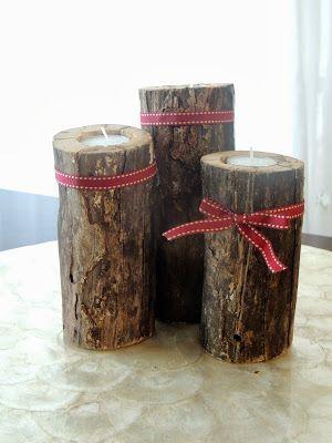 DIY: natural wood candleholders