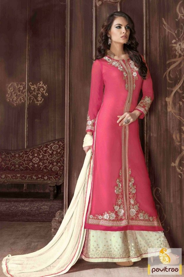 Fashionable pink cream georgette santoon Pakistani dress online shopping. Buy online this new style dress collection at Pavitraa fashion store. #salwarsuit, #straightdress more: http://www.pavitraa.in/store/embroidery-salwar-suit/