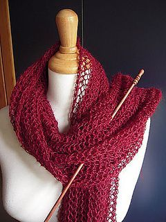 Loosely CO 60 sts. Work all rows as follows: k1, *yo, p2tog*, k1. Loosely BO all sts by knitting . Wrap yourself up and enjoy! http://knitaly.blogspot.com/2010/06/100-grammi.html