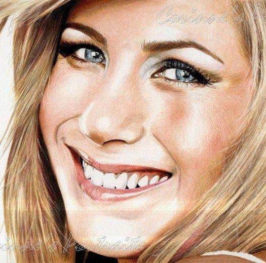 Pencil Artist Corinne's Portraits (French) | Jennifer ANISTON | Crayons de couleur (Derwent drawing et Faber-Castell)/Colored pencils (Derwent drawing and Faber-Castell) 2012 (detail)