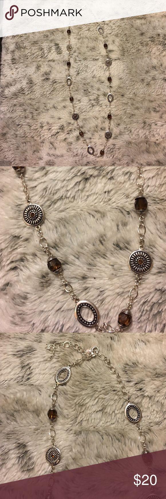 NWOT Premier Jewelry Long Silver & Brown Necklace NWOT Premier Jewelry Silver & Brown Long Necklace Premier Designs Jewelry Necklaces