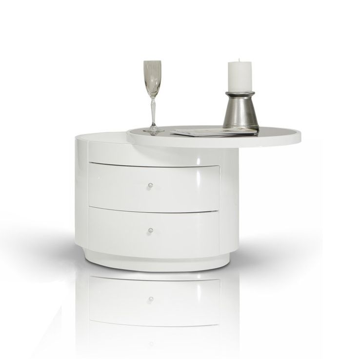 Symphony Modern White Round Nightstand -- This modern bedroom nightstand features a white high gloss finish that will look stunning wherever you put it. It includes two storage drawers for bedroom convenience and a round swiveling table top.