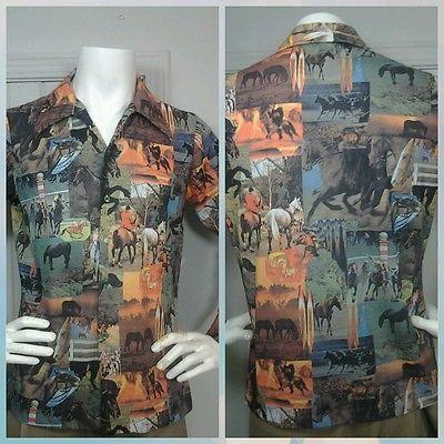 Vintage Mens Disco Rockabilly Shirt Sz L Equestrian Polo Horse Racing Retro