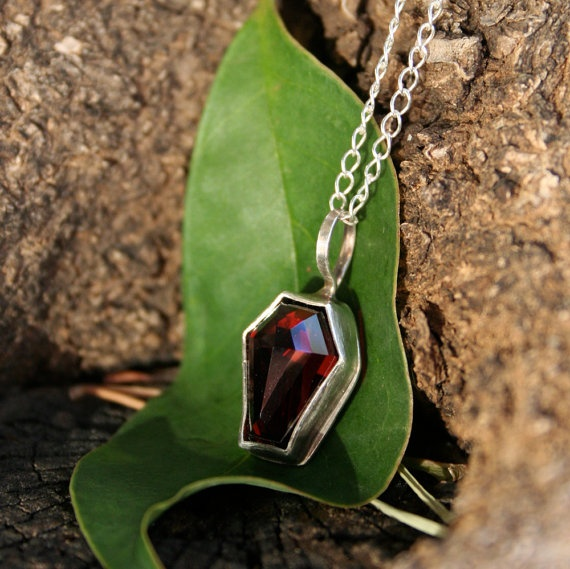 Coffin Gemstone Pendant  Sterling Silver  by thenay on Etsy, $100.00