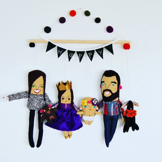 Wall Hanging Family of Four Personalized Made by PinkCheeksStudios