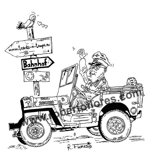 #Cartoon Of A #WW2 #Willys #jeep MB Captured By Regular
