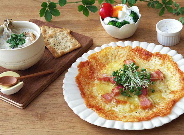 potato pizza / clam chowder / salad /   こんだてnote / じゃがいも / ピザ