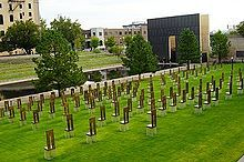 Oklahoma City National Memorial - The Field of Empty Chairs representing each life lost.