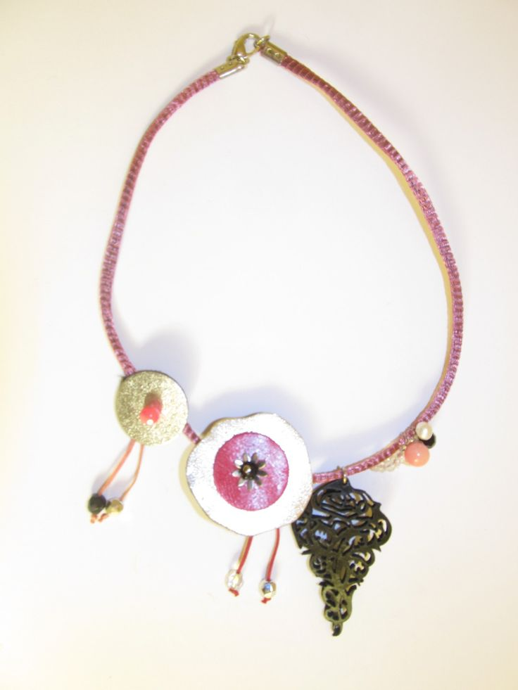 Handmade short leather necklace (1 pc)  Made with black leather filigree, leather parts, pink metallic basket with leather cords inside, metal flower, white freshwater pearl, glass beads and wax cord.