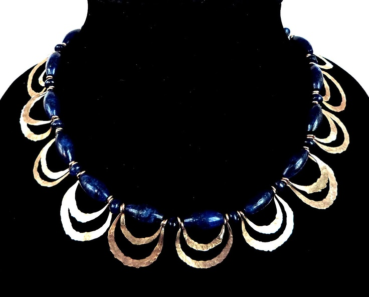 Lapis Lazuli Hammered Gold Necklace Statement Necklace Collar Necklace Metalwork Gemstone Handcrafted Blue. $195.00, via Etsy.
