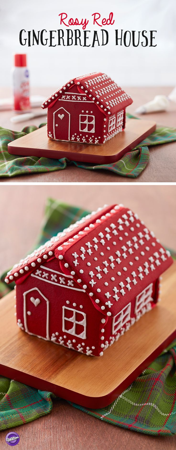 Rosy Red Gingerbread House - Decorating a gingerbread house can be as easy as giving it a few coats of color! Spray your gingerbread house with Color Mist food color spray to create a unique look that is sure to make your decoration stand out! Use edible FoodWriter markers to outline your details then pipe over them with icing for a whimsy and fun Rosy Red Gingerbread House that is sure to be a conversation starter at your holiday gathering.