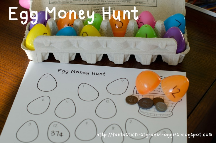 Plastic egg money hunt with recording sheet freebie