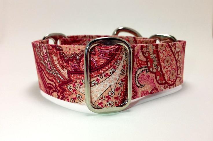 Pink Paisley Wide Martingale Dog Collar -- Custom Size. $20.00, via Etsy.