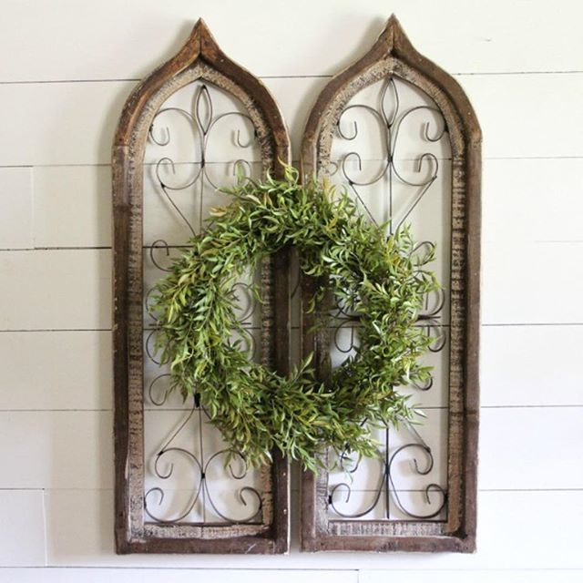 Rustic Yet Romantic This Wood And Iron Shutter Resembles A Distressed Arched Window With A Metal Scroll Pat Arched Wall Decor Shutter Decor Shutter Wall Decor