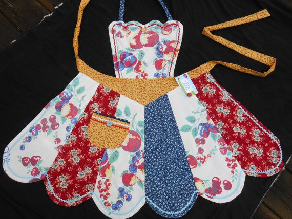 Vintage upcycled tablecloth apron                                                                                                                                                                                 More
