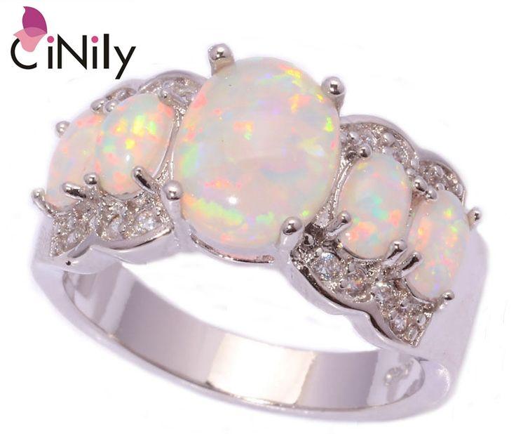 CiNily Gemaakt White Fire Opal Zirconia Verzilverd Ring Groothandel Retail Hot voor Vrouwen Sieraden Ring Maat 5-13 OJ4360