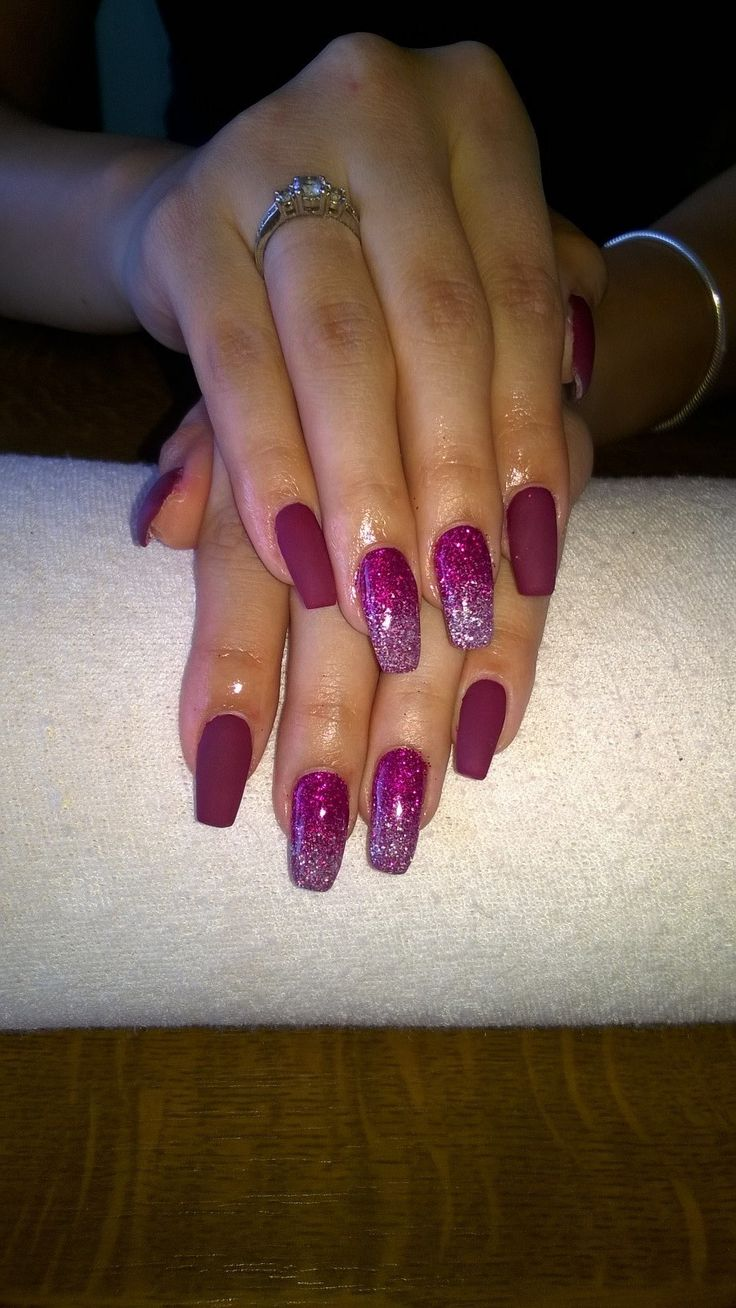 matte purple gel, white-purple glitter