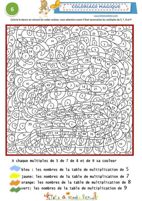 Les 25 meilleures id es concernant coloriage magique for Table de multiplication de 7 et 8