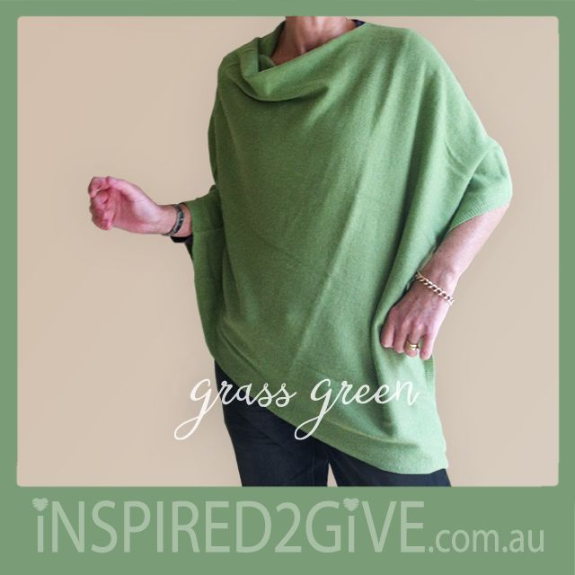 Grass Green Cashmere Poncho from Inspired 2 Give