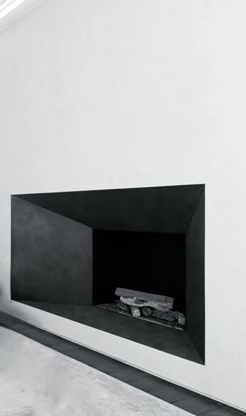 Contemporary minimal fireplace design. Joseph Dirand and Obumex. inspired by Le Corbusier Notre Damn windows