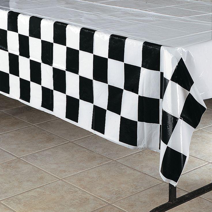 Black U0026 White Checkered Plastic Tablecloth