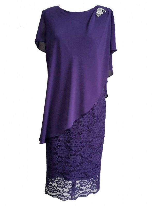 Inspirations Ladies Plus Size Special Occasion Dress and Chiffon Overlay in Purple
