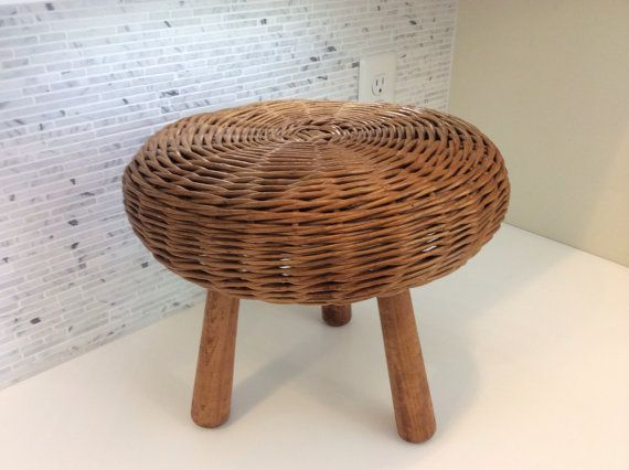 Mid Century Tony Paul Style Wicker Footstool with by danishmaude, $89.95